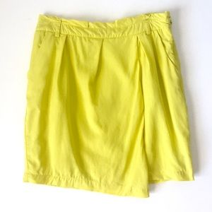 Lemon yellow wrap front skirt